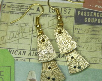 STEAMPUNK Earrings - Vintage Gold FUSEE Balance Cock with Beautiful Floral Etching - Birthday Anniversary Gift - Circa Late 1800s