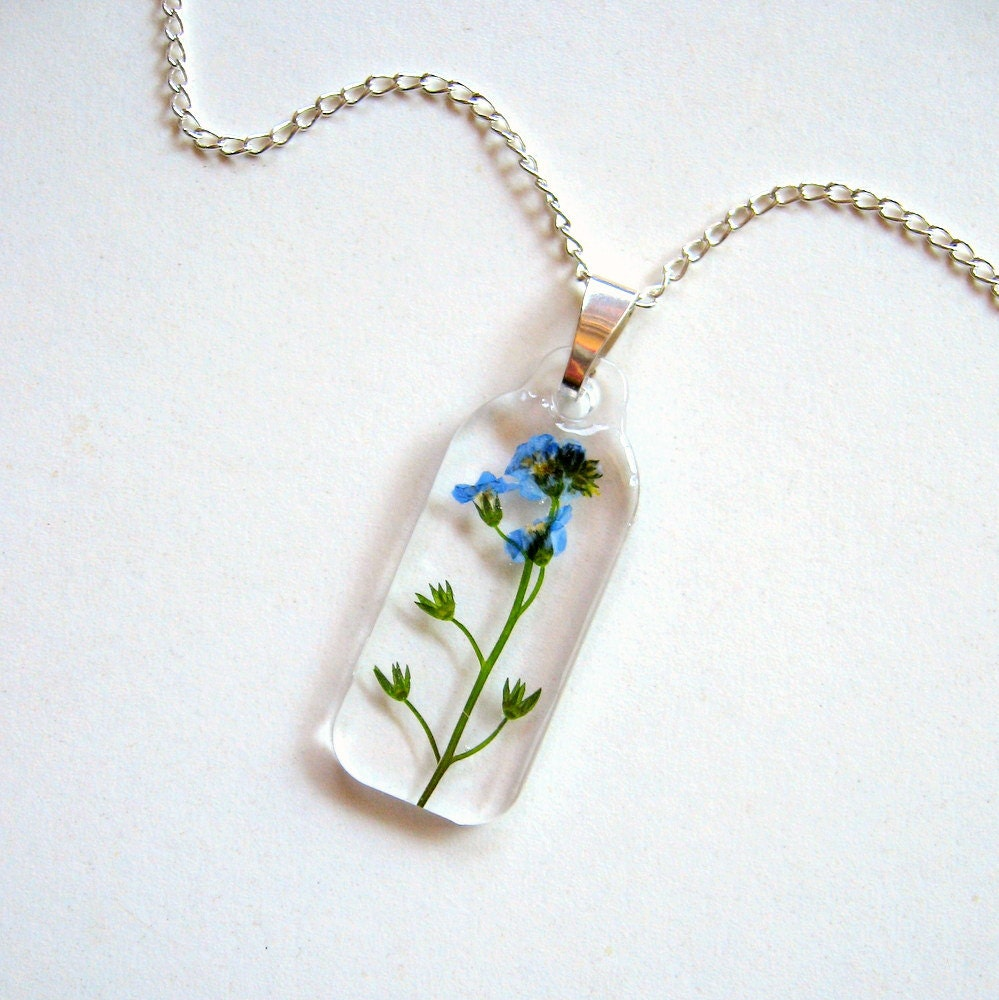 Garden Charms: Forget Me Not Real Flower Garden Necklace Botanic Jewelry