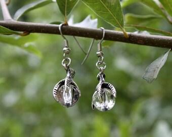 Crystal Earrings - Raven Talon Earrings - Crystal Orb Earrings - Dragon Claw Earrings - Gothic Earrings - Fantasy - Medieval - Two Feathers