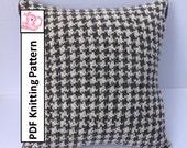 "PDF KNITTING PATTERN, knit pillow cover pattern, Houndstooth knitting pattern, 16""x16"", cushion cover knitting pattern"