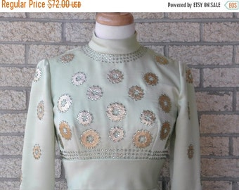 ON SALE Vintage Formal Dress - Mint Green Long Dress - Mignon Dress - Green and Gold