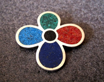 Flower Shaped Mosaic Sterling Silver Pendant