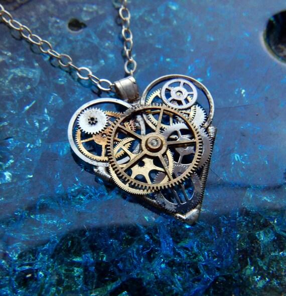 "Clockwork Heart Necklace ""Rossetti"" Steampunk Watch Gear Industrial Heart Pendant Sculpture Gershenson-Gates Mechanical Mind Gift Idea"