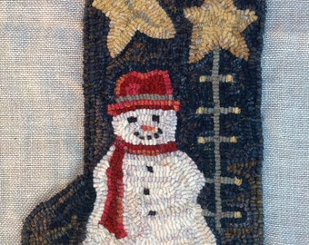 Rug Hooking PATTERN, Snowman and Tree  Stocking, J991