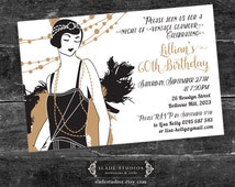 Vintage Glamour Party Invitation. Featuring 1920s Great Gatsby Flapper Girl illustration. Printable. Gold, Silver, Mint, Purple, Blue, Pink.