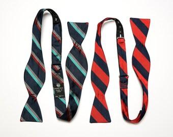 mens vintage bow tie regency repp stripe red blue Rooster silk self tie bowtie vintage menswear set of 2
