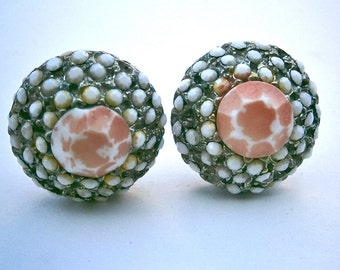 Vintage Glass Coral Earrings Dome Beehive Honeycomb White Round Clip Ons Props Hollywood Faceted Design Rows Project Movies Retro Graduated