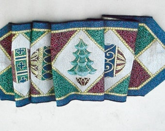 Vintage Blue Maroon Xmas Table Runner Christmas Tree Tablecloth 70 Inches x 13 Inch Balls Geometric Diamond Scarf Green Gold Dining Holiday