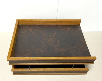 1970s Teak In Out Tray Desk Paper and file Organizer - leather like textured surfaces, wood and metal frame