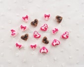 9pcs - Heart Macaron Cookies Decoden Cabochon (15x12mm) HSW10001