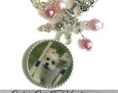 Custom Pet Photo, Memory Photo Necklace Or Keychain With Dog Bone Charm, Animal, Dog, Cat,