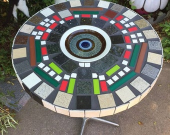 Vintage Mosaic Side BAR Table Inlaid Artist Designed Mid-Century Modern Mondrian Style Abstract ART Bar