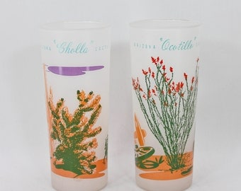 FREE SHIPPING! 2 Vintage 1950s Frosted Iced Tea Glasses Arizona Cactus Blakely Oil OCOTILLO & Cholla