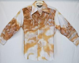 FREE SHIPPING! Vintage Men's Chemise Et Cie French Photo Art Print Retro Disco Mod Brown Shirt Medium