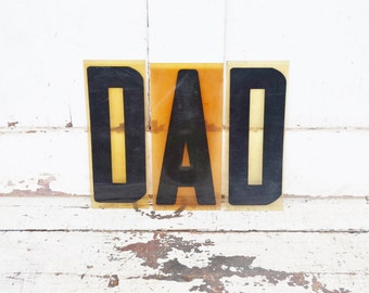 """Vintage DAD Sign Marquee Word Letters Plastic Black 9"""" Acrylic Father to Be Announcement Photo Wall"""