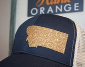 Montana 'Sparkly State' Hat - Gold State - State Trucker Hat - Organic/ Recycled Material Hat