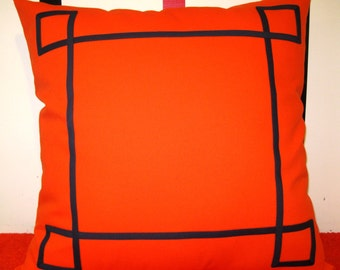 orange navy blue trim nautical pillow cover 26 X 26