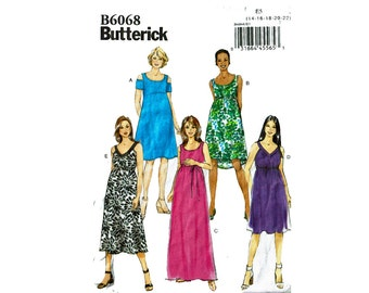 Maternity Dresses Uncut Sewing Pattern Sizes 14 16 18 20 22 Bust 36-44 Butterick 6068 Pullover Dress & Belt