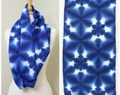 Shibori Textile. Vintage Japanese Indigo Cotton. Geometric Blue and White Supply Fabric or Scarf (Ref: 1228)