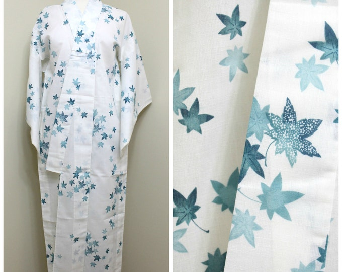 Japanese Vintage Kimono / Yukata. Light Sheer Linen / Mix Fabric Robe in White and Green Maple leaves (Ref: 1504)