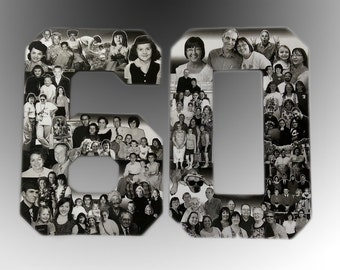 Birthday Photo Collage. Custom Milestone Bithday Collage, Numbers Collage, 60th Birthday Decorations