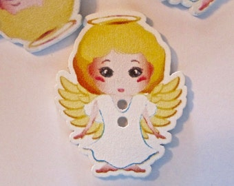 Angel Wood Buttons Lot of 10