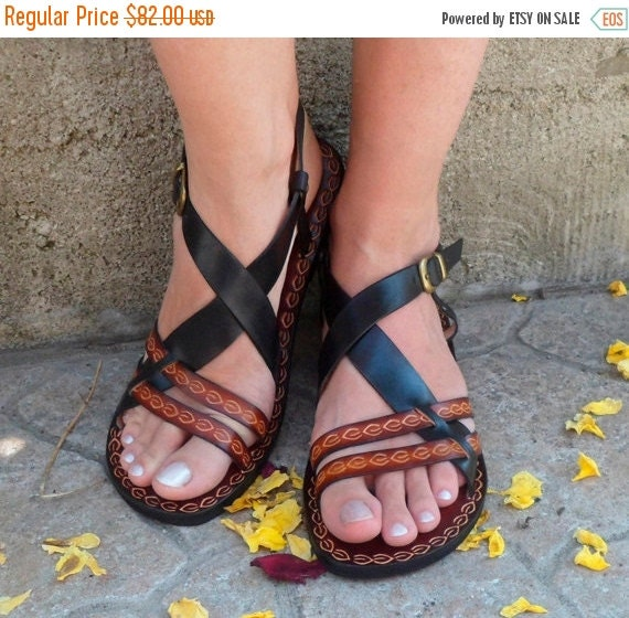 20% Cute Black And Brown Custom Handmade Leather Woman Sandals - Inspiration