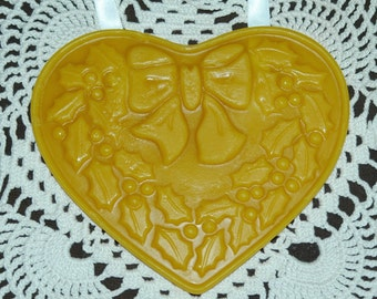 Pure Beeswax Heart ~ Holly Leaf and Berries Heart ~ Christmas Decoration Heart ~ Winter Decor