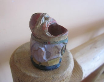 carved wood toothpick holder, man with mouth open,,most unusual