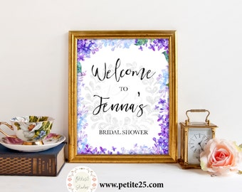 Purple Blue Lilac Hydrangea Floral Bridal Shower sign, Welcome sign, Watercolor Classic Elegant Wedding Invite Printable Digital