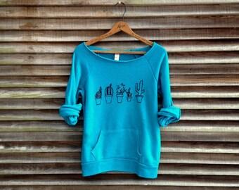 SALE Cactus Sweatshirt, Succulent Shirt, Yoga Top, Teal Sweatshirt, S,M,L,XL