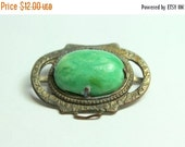 MOVING SALE Half Off Interesting Vintage Ornate Green Celluloid Silver Metal Buckle Piece