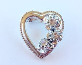 MOVING SALE Half Off Pretty Vintage Silver tone Metal Clear Rhinestone Heart Brooch