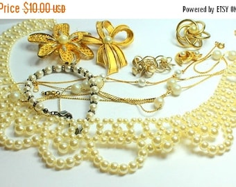 BIG SALE Stunning Lot of Vintage Salvaged  Pearl  Jewelry Pieces Perfect For Bridal Assemblage