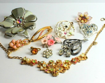 Shabby Chic  Lot of Vintage  and Salvaged Colorful Rhinestone and Pearl Flower Jewelry Parts and Pieces