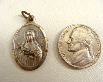 vintage ST THERESA Therese Of Lisieux Pray For Us Religious Catholic Medal Charm