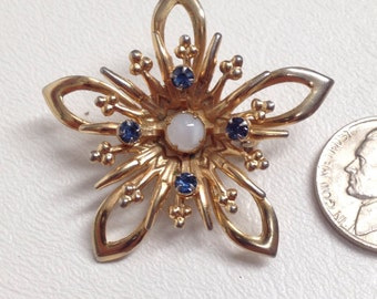 gift for mom. vintage Star Flower Snowflake Brooch. White Chatoyant Cat's Eye and Aquamarine Rhinestones. Gold Tone Metal Pin