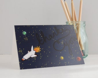 Thank You Card, Thanks Space Shuttle Greetings Card, Space Travel Card, Cards for Nerds, Nasa Inspired Card, Rocket Ship Card