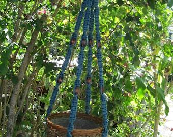 Denim 42Inch Beads Macrame Plant Hanger