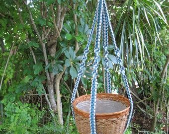Shadow Gray Denim 37 Inch No Beads Macrame Plant hanger