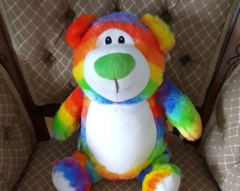 Cubbies Rainbow Bear Birth Announcement  Rainbow Bear Cubby  Baby Toy Personalized Baby Gift Ring Bearer Flower Girl Big Brother Big Sister