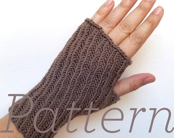 Knit Fingerless Gloves Pattern // Oblique Mitts – Pattern Only – PDF Download