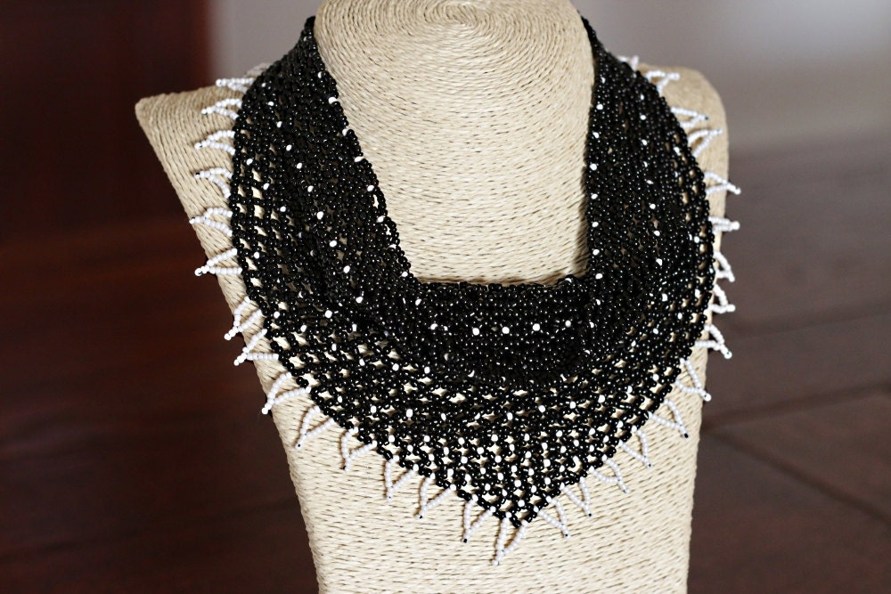 Knitting Patterns For Beaded Scarves : Handmade Bead Kerchief Necklace Beaded Kerchief Necklace