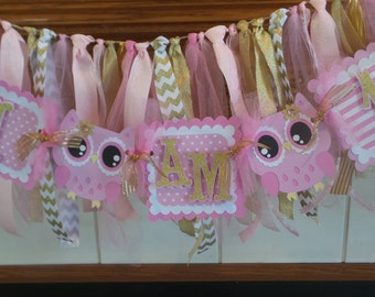 I Am 1 Owl pink gold high chair banner, high chair banner, 1st birthday banner, owl high chair banner, owl garland banner, photo banner