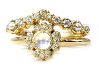 Diamond Cluster Engagement Ring Set with Moonstone and Pearls - Yellow Gold Stacking Rings