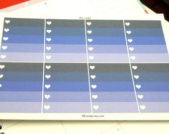 Cool Purple Ombre Heart Checklists-Set of 8