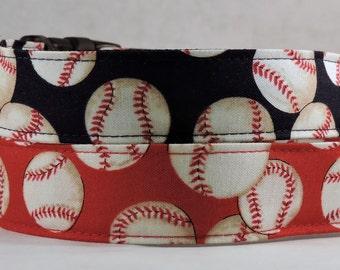 Dog Collar, Martingale Collar, Cat Collar - All Sizes -  Baseballs