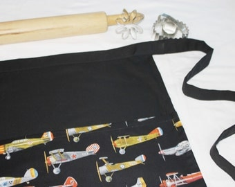 Airplanes Adult Apron - black background