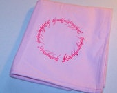 Lord of the Rings One Ring Elvish Inscription Snuggle Pastel Pink Flannel Baby Blanket
