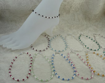 Swarovski Crystal and Silver Birthstone Anklets, Free Shipping